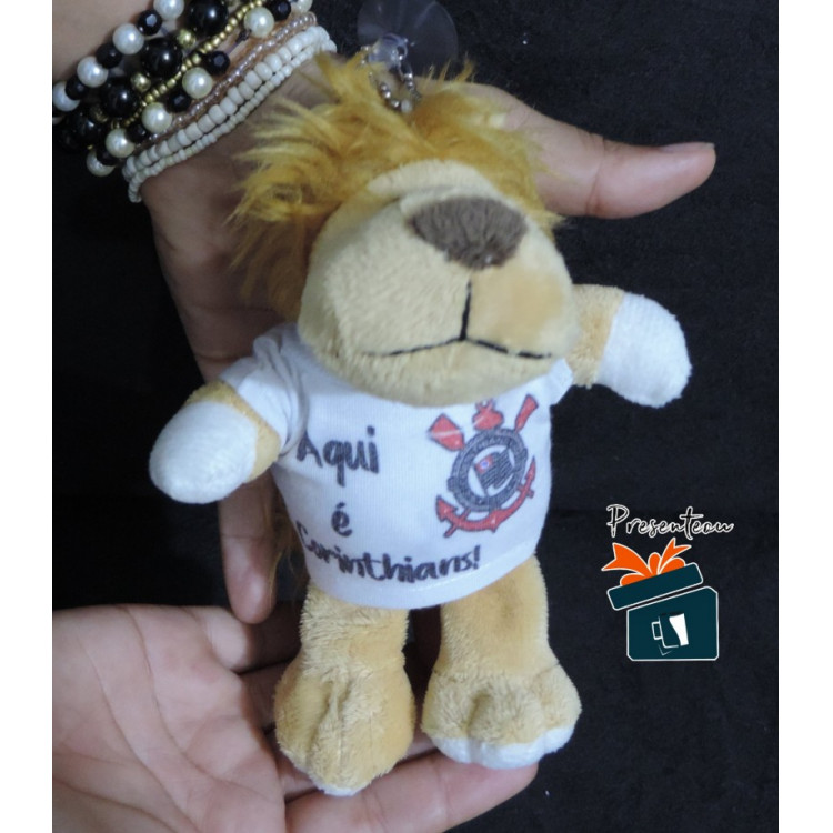 Mini Ursinho de Pelúcia/Chaveiro Aqui é Corinthians - Leãozinho