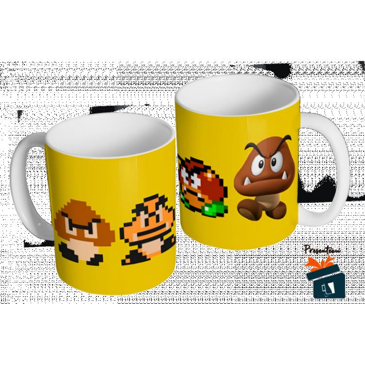 Caneca Mario Bros - Evolução Goomba- Caneca em cerâmica 325ml - Modelo 10