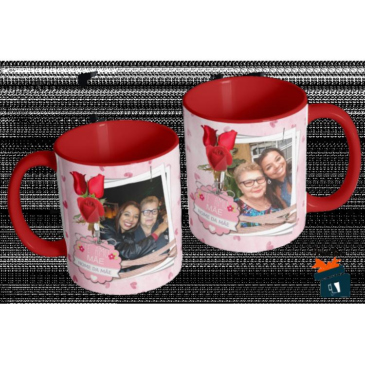 Caneca Dia das Mães Para a Mãe com Duas Fotos - em Cerâmica 325ml
