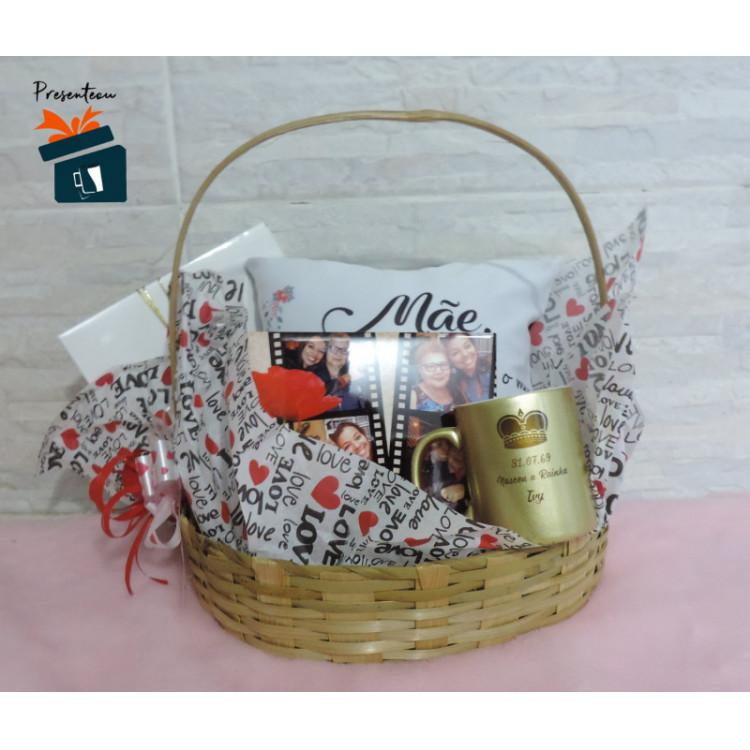 Cesta Personalizada Dia das Mães com Três itens - 32cmC