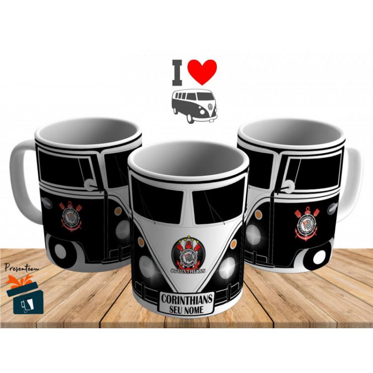 Caneca Kombi Corinthians - Personalizada com Seu Nome - Cerâmica 325ml