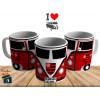 Caneca Kombi Flamengo - Personalizada com Seu Nome - Cerâmica 325ml
