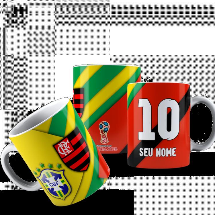 Caneca Flamengo/Brasil  - Personalizada Cerâmica 325ml