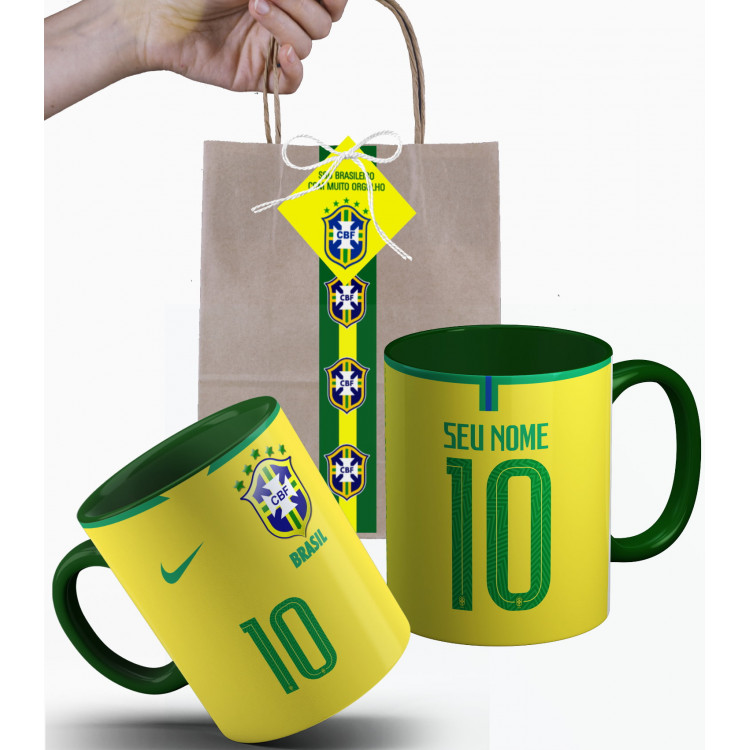 Caneca Brasil da Seleção Brasileira 2018 Nº1 Personalizada com Nome e Embalagem