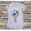 Camiseta ou Babylook Brasil Copa do Mundo- Mascote da Copa 2018 Feminina Modelo 14