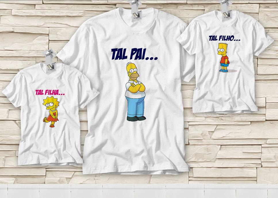b69859af35c132 Dupla de Camiseta Dia dos Pais - Tal Pai. Tal Filho(a) - Simpsons