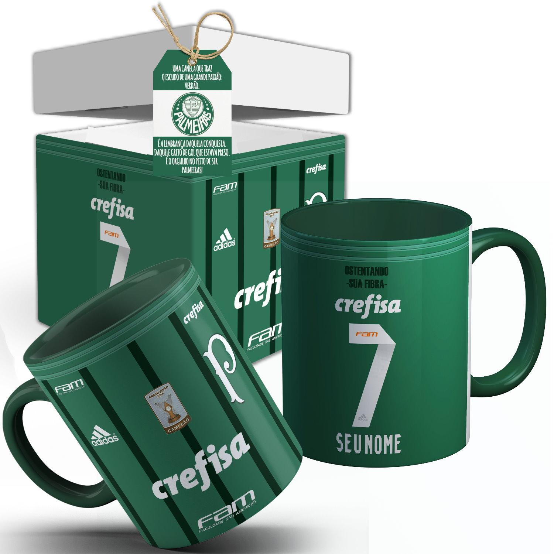 0f5a70b13d Caneca Palmeiras Camisa 2017 Verde com Seu Nome + Caixinha Personalizada