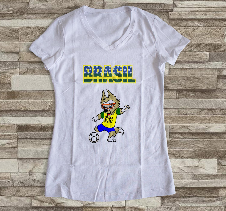368cd0904 Camiseta ou Babylook Brasil Copa do Mundo- Mascote da Copa 2018 Feminina  Modelo 08