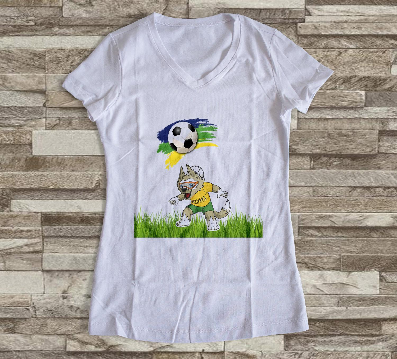 27e50d7291 Camiseta ou Babylook Brasil Copa do Mundo- Mascote da Copa 2018 Feminina  Modelo 13